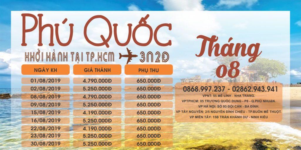 TP.HCM - PHÚ QUỐC 3N2Đ - THÁNG 08/2019